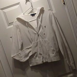 Ralph Lauren white zip hooded top size medium